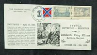 1968 The Emerson Hotel Baltimore MD Cover with Confederate Commemorative Stamps