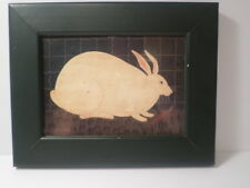 W Kimble Framed Folk Art Country Farm Rabbit Picture