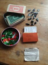 Vintage Monoploy Pieces, Money, Cards, Mortgages, House, Player Pieces