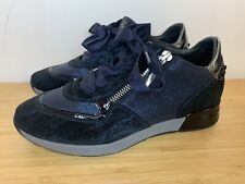 DL Sport Blue Suede Glitter Ribbon Lace Trainers Zip UK size 4 EUR 37 Navy NEW