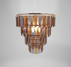 Country Club 25cm Tiered Copper & Grey Chandelier Light Shade Lampshade Lamp