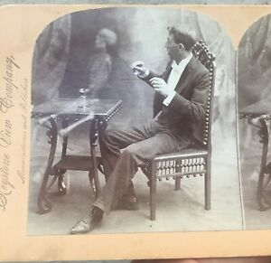 1898 Keystone There's DEATH in the CUP, Man & Skeleton Ghost STEREOVIEW 9019
