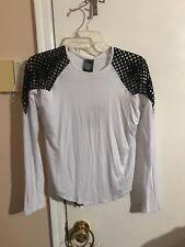 NWT Girls Zara Terez White w/black mesh Long Sleeve Top Size Xlarge