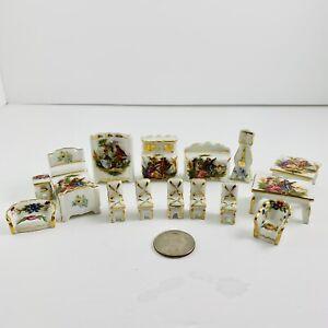 Limoge miniature porcelain China DollHouse Display Furniture 16 pieces