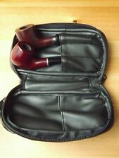 Black Leather 2 Pipes Pipe Bag Case With Tobacco Pouch Holder