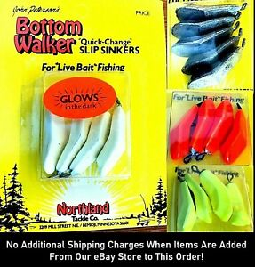 """🌟 Northland Bottom Walker """"Quick-Change"""" Slip Sinkers - Choice of Size & Color"""