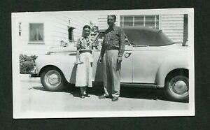 Vintage Car Photo Ma & Pa w/ 1940 Plymouth Convertible 408065