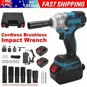 """1/2"""" Electric Cordless Impact Wrench Brushless Rattle Gun Socket Battery Charger"""