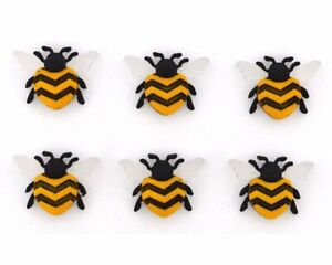 Bee Happy Insect Buttons Jesse James Dress It Up Novelty Embellishment Set