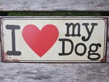 """LAFINESSE VINTAGE SCHILD """"I LOVE MY DOG"""" HUND NOSTALGIE METALLSCHILD SHABBY NEU"""