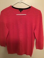 Talbots Womens Petite M Pink Cardigan Sweater 3/4 Sleeve Button Front Pre-owned