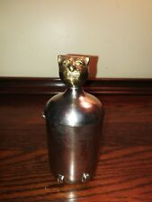 VTG - UNIQUE - Small Stainless Steel Canister with Brass Cat Head, Tail and Feet