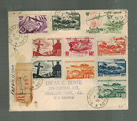 1948 St Pierre Miquelon airmail Registered cover to Highland Park IL USA