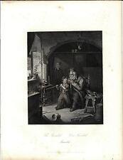 Stampa antica originale NONNO e NIPOTINO con Soldatini 1850 Old print Engraving