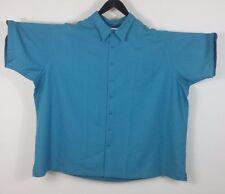 Mens 5XL Big Teal Blue Short Sleeve button down camp shirt Big
