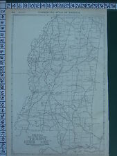 1922 LARGE AMERICA MAP ~ MISSISSIPPI ~ MILEAGE RAILROADS RAND MCNALLY