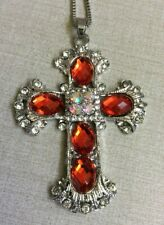 Betsy Johnson Designer Red Crystal Cross Pendant on Long Silver Necklace Beauty!