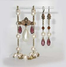 ~STUNNING VTG ART DECO EGYPTIAN SCARAB NECKLACE & EARRINGS!~PEARLS & AMETHYST! ~