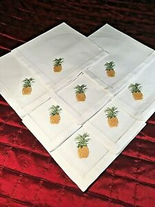 Set of 8 Napkins 100% White Cotton Fabric with Embroidered Pineapple and Border