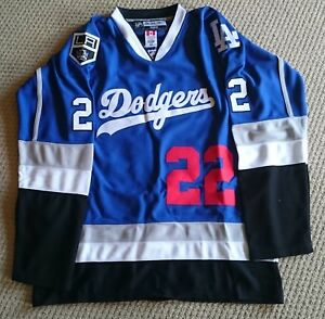 NHL MLB Replica Dodgers Hockey Jersey.Customizable. Any Size,Name, and Number.