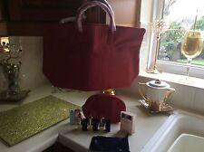 Estée Lauder Red Tote Bag With Matching Makeup Bag & Estée Products B/New