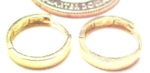 14kt Yellow Gold 3 X 13.5MM Huggie Earrings Square edge -Gift Box.FREE SHIPPING