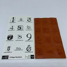 Stampin Up Rubber Stamp Collage Numbers Set of 12 New Unmounted 2004