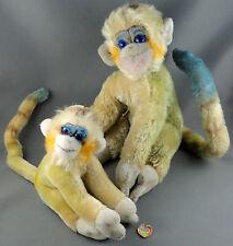 Steiff Mungo x2 Monkey 17 & 25cm Mohair Plush Blue Glass Eyes ID Chest tag 1960s