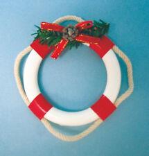 RED & WHITE LIFE RING w/GREENERY & ROPE COASTAL NAUTICAL CHRISTMAS ORNAMENT