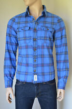 NEW Abercrombie & Fitch Rollins Pond Flannel Shirt Blue Plaid L