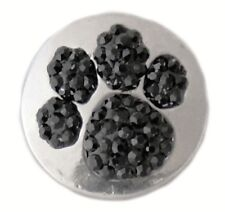Silver Black Rhinestone Paw 20mm Snap Interchangeable Jewelry For Ginger Snaps