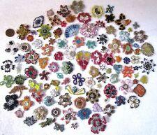 VERY RARE LOT Antique Vintage Sari Saree APPLIQUES 100 PC HANDMADE GLASS BEADS m