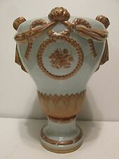 "Mottahedeh Urn Blue w Copper Glaze Wreath Knot  Drape Italy 13"" Vintage Bolted"