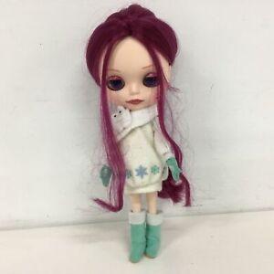Hasbro Neo Blythe Doll Purple Hair Winter Outfit Eye Mechanism Not Working #905