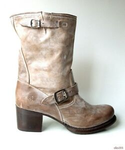 New FRYE 'Vera' distressed grey taupe leather ankle strap BOOTS 11 - gorgeous