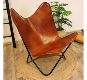 Handmade Vintage Leather Butterfly Chair For Home Décor Relax Arm Chair Foldable