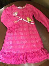Cach Cach Girl's Dress Size 6 Lacy Pink Bird Flower Appliqué Ruffle