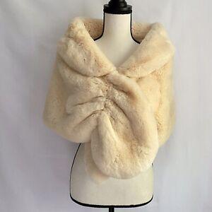 Caracilia Women Luxury Faux Fur Shawl Wrap Stole Cape For Wedding Small Beige