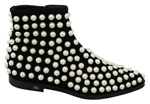 DOLCE & GABBANA Shoes Boots Black Suede Pearl Studs Booties EU39 / US8.5 $2000