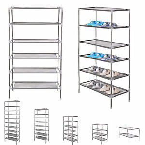 2/6/10 TIER SHOE STORAGE RACK ORGANISER CABINET SHELF F/ 6/18/30 PAIRS New