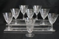 "Set of 8 Mid-Century Etched Crystal 'Thistle' 6"" Wine Water Goblets MINT"