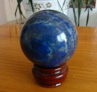 372g Natural Blue Lapis Lazuli Quartz Crystal Sphere Ball Healing   + Free Stand