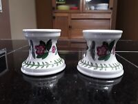 Vintage Portmerion The Botanic Garden Candlesticks. Made In England. 2 Pcs.