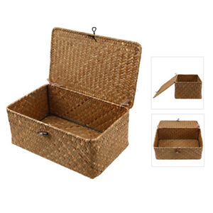 Brown Shabby Chic Wicker Basket Box with Lid Lock Home Storage Hamper Tidy Gifts
