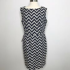 New The Limited Size 14 Chevron Sheath Dress Blue Career Work Office Plus