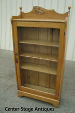 60807 Antique Solid Oak Bookcase Curio Cabinet