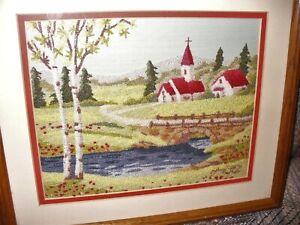Vtg Needlepoint Framed Spring Country Scene Rustic Primitive Church Folkart