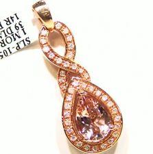 2.64CT 14K Gold Natural Morganite White Diamond Vintage Engagement Necklace