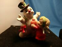 "XMAS Eve Rockwell George Good Frosty Snowman with Girl 4"" Ceramic Figurine"
