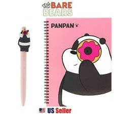 We Bare Bears Hard Cover Spiral Notebook Note Pad & Pen Set : Panpan